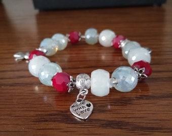 Free shipping Crystal bracelet,bright,10mm beads bracelet,Charm,homemade,silver pendant