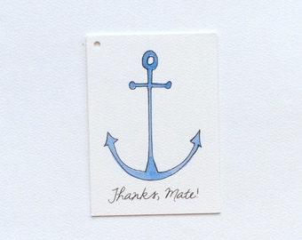Nautical Thanks Mate Anchorl Gift Tag