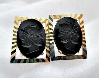 Greek Roman Soldier Cuff Links Cufflinks - Vintage Onyx Double Faced Cufflinks - Unisex Cuff Links - Vintage Men's Dude Jewelry Gift