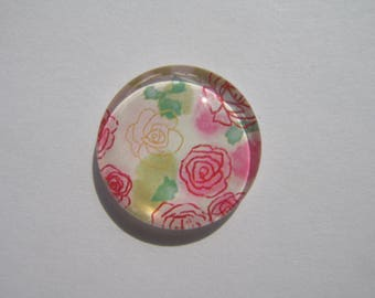 Glass cabochon round 20 mm with the image of pink flowers