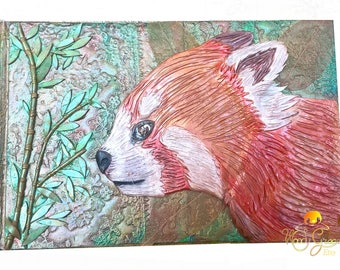 Cover Red Panda drawing Journal notebook sketchbook polymer clay