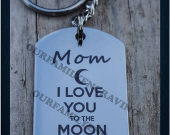 Mom I love you to the moon and back keychain pendant necklace