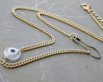 Safety Pin Necklace, Gold Talisman Necklace, Evil Eye Punk 90's Choker Necklace Gold, Talisman Jewelry