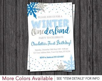 Winter Onederland Birthday Invitation - Blue and Silver Winter Wonderland Birthday Invitations