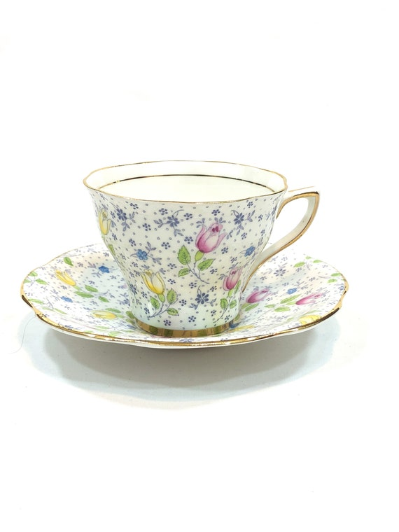 Rosina June Tea Cup Saucer, English Teacup, Pastel Flowers Tulips, Pink Yellow Blue, Pattern 4974, Vintage Shabby Chic Chintz Tea Cup