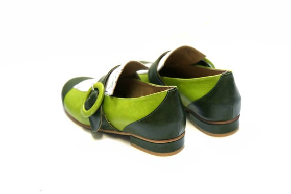 shoes women Close Green oxfords woman's Flat leather shoes for Handmade shoes leather shoes shoes Green shoes Israeli wU6pxEYqvE