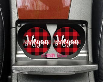 Personalized Buffalo Plaid Ceramic Sandstone Car Coasters