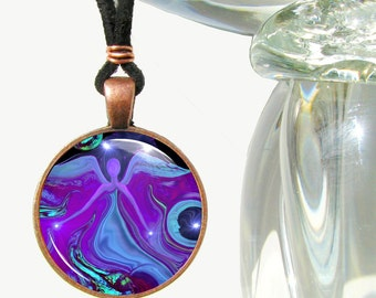 "Angel Necklace, Energy Art Pendant Necklace, Reiki Jewelry Purple ""Moon Angel"""