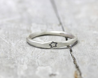 925 silver ring with star, ring with Asterisk, star, stack ring, organic shape, jewelry stamped, gift for you