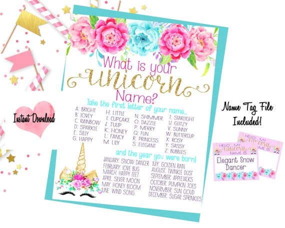 Unicorn Name Game Unicorn Birthday Birthday Games