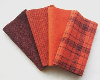 """Hand Dyed Felted Wool, TIGER LILY, Four 6.5"""" x 16"""" pieces in Burnished Red Orange, Perfect for Rug Hooking, Applique and Crafts"""
