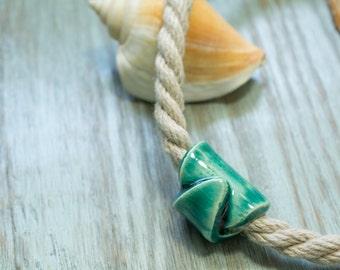 Natural Hemp Cord Choker with Turquoise Ceramic Designer Bead
