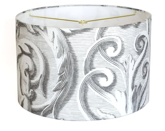 LARGE Scroll Works Linen Lamp Shade - Gray and White Baroque Scroll Lampshade - 13 14 15 Inch Drum Lamp Shade - Custom Made to Order