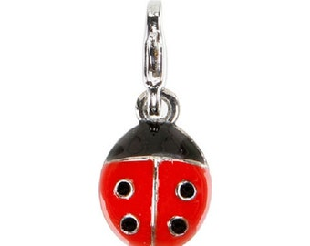 ENAMEL LADY BUG Charm ---- Mix and Mingle Charm with Lobster Clasp