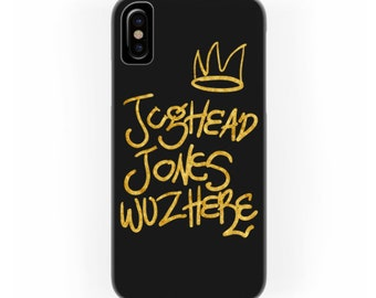 Jughead Jones was here phone case | Golden hand lettering illustration | Bughead crown | Archie Andrews Betty Coopper Veronica Lodge