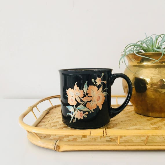 Vintage Black Floral Mug Gold Rimmed Orange Iris Flowers Coffee Mug Made in Japan Black Coffee Cup