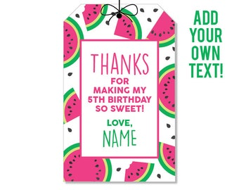 EDITABLE INSTANT DOWNLOAD Pink Watermelon Party Favor Tags - Editable, printable watermelon birthday party favor tags