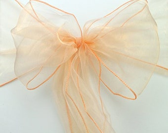 50pcs Peach Organza Chair Sashes Wedding Decorations Banquet Ceremony Decorations Birthday Anniversary Baby Girl Baby Shower Decorations