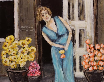 Maryanne welcomes a hesitant spring, Original Painting, Figure Painting, Woman, Blue Dress, Flowers, Art, Home Decor, Winjimir, Gift, Wall