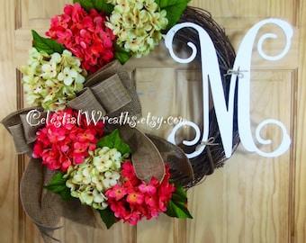 spring wreath - summer wreath - hydrangea wreath - easter wreath - mothers day - grapevine wreath - housewarming