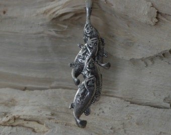 Stringer of Fish , handcrafted , Sterling Silver ,Fisherman