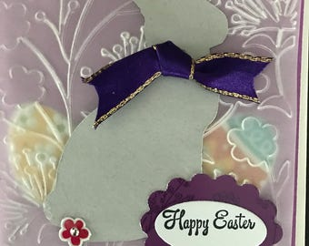 Easter embossed vellum greeting card with die cut bunny