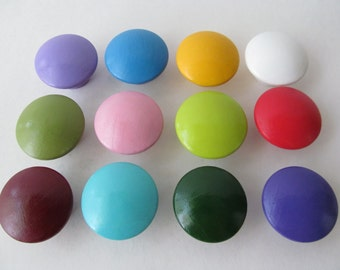 Hand Painted Dresser/ Drawer/ Cabinet Wooden Knobs - Set of 12 -Rainbow Colors