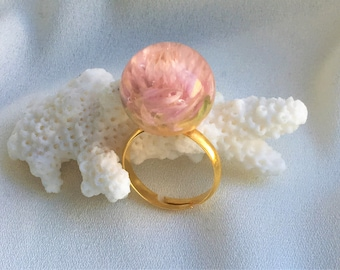 Resin Bud Ring #2 gold with real blossom in clear resin fairytale