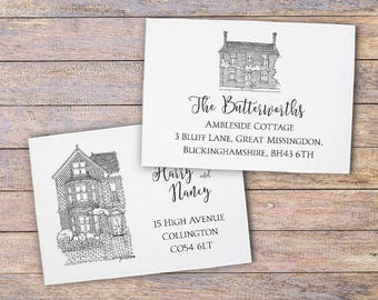 Custom House Portrait Address Cards: New Home Cards - Change of Address Postcards - Moving Announcement Cards - We've Moved Cards - 25+