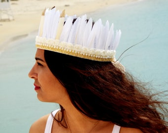White Feathers headband , Boho headband , Feather accessories , Gypsy headband , Native america headband , Festival headdress