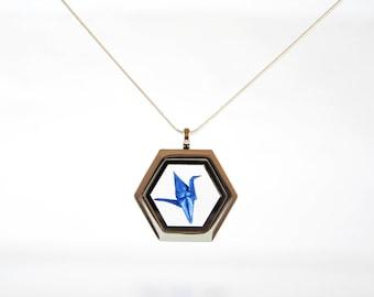 Origami Crane Necklace Iridescent Cobalt Blue, Origami Pendant, Paper Anniversary Gift, Glass Locket, Japanese Origami Paper Crane