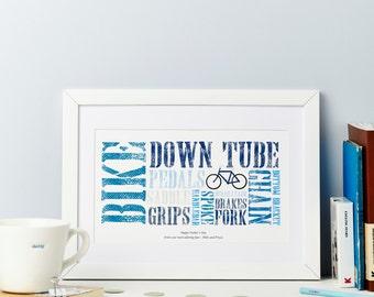 Cycling Print - Personalised Bike Print - Father Biking Print - Cyclist Gift Print - Mountain Biking Gift