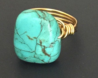 Turquoise Ring Magnesite Ring Gold Wire Wrapped Ring Boho Ring Handmade Ring