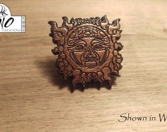 Laser Engraved Sublime Sun Solid Wood Hat Pin