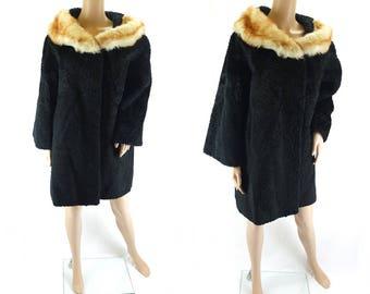 Vintage 1970s Black Persian Lamb Swing Coat with Fur Collar  Astrakhan - Size 12 UK