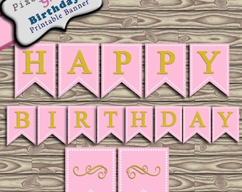 Birthday Banner Bunting Printable Pink and Gold Glitter Instant Download PDF Happy Birthday