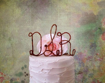 Monogram Wedding Cake Topper with YOUR Initials, Initials Wedding Cake Topper, Wedding Monogram Cake Decoration, Anniversary Cake Topper
