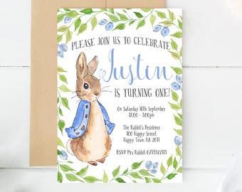 Peter Rabbit Invitations, Custom Invitations, Custom made, Birthday Invitations, Birthday Invites, Invitation Cards, Peter Rabbit Party