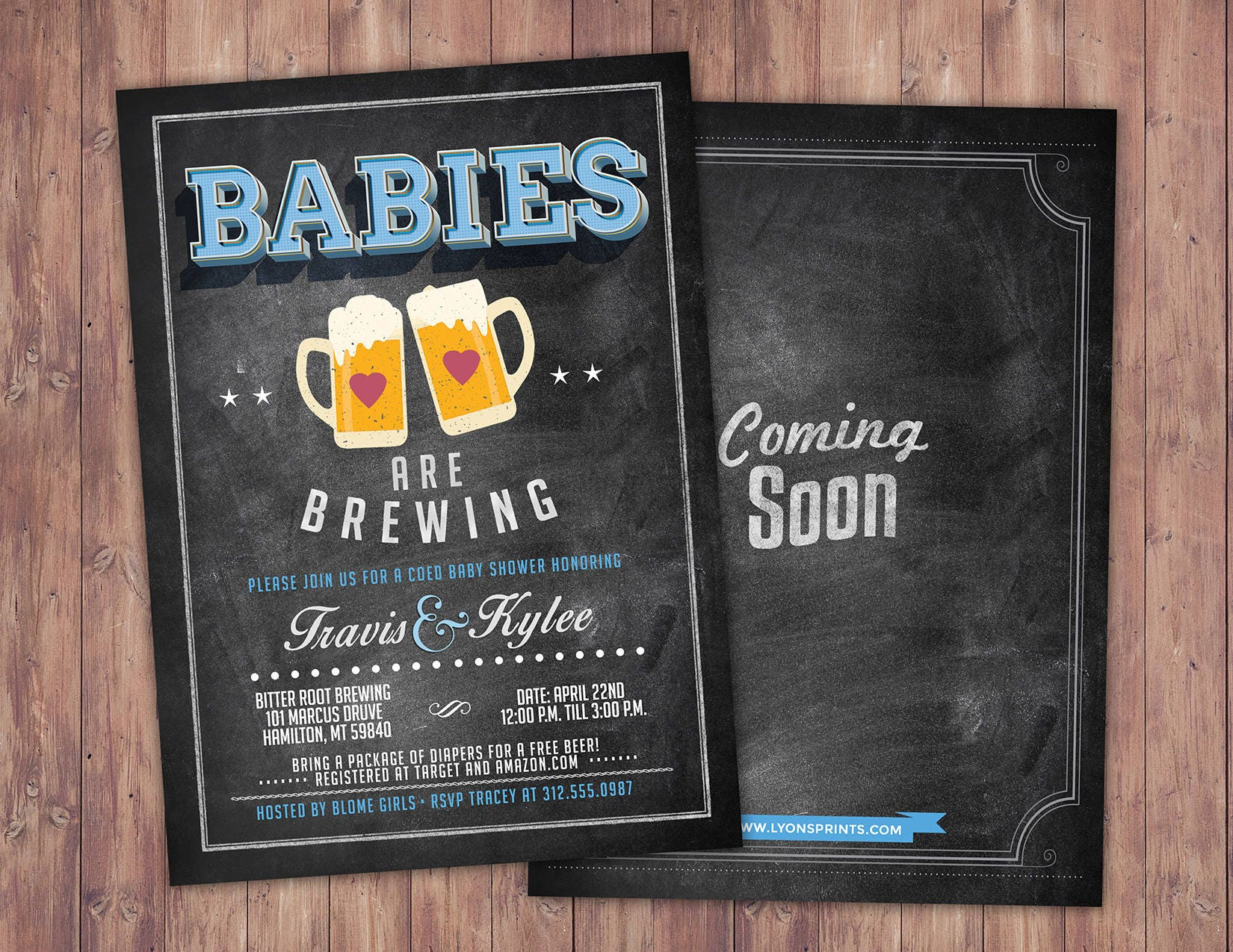Baby is brewing Twins Coed baby shower invitation Beer baby
