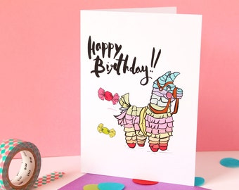 SALE! Colourful Fun, Birthday Piñata Illustration, Birthday Celebration Greeting Card
