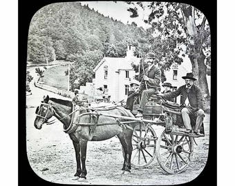 Vintage Image of Irish Jaunting Car - from 19th Cent Glass Slide - Mono & Sepia Downloads