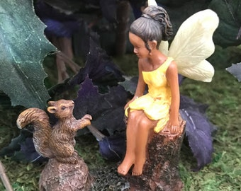 Miniature Fairy of Color with Squirrel Friend