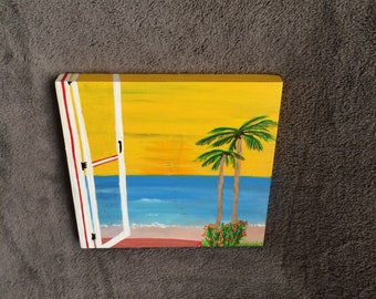 Ocean view painting on wood