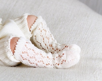 KNIT BABY SOCKS off white ivory lace socks Baby shower gift Baptism accessory Legwear Knit lace socks