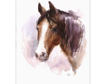 Horse - Original Watercolor Painting 9x12 inches Farm Animals