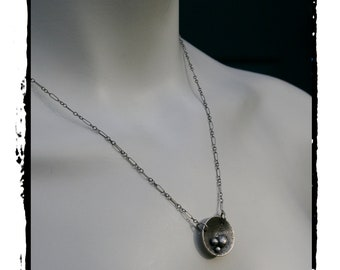 Mother,mothersday,sterling silver necklace,nest pendant,neslted,maggiesmeltdown,Maggie'sMeltdown,silver,silver necklace,nest necklace