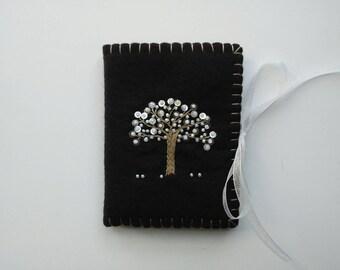 Wool Felt Needle Case, Embroidered Black Needle Book, Beaded Needle Book, Wool Felt Needlebook, Tree of Life Needle Holder