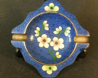 Antique Chinese Cloisonne Ashtray Blue