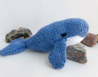 Toy Whale Knitting Pattern, PDF instant download to knit your own Lasse the Little Blue Whale