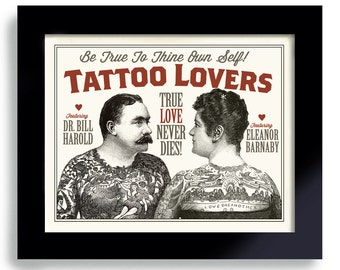 Tattoo Art Illustrated Ink Tattoo Couple Sideshow Art Tattoo Parlor Circus Poster Vintage Carnival Tattoo Parlor Man Woman Rockabilly